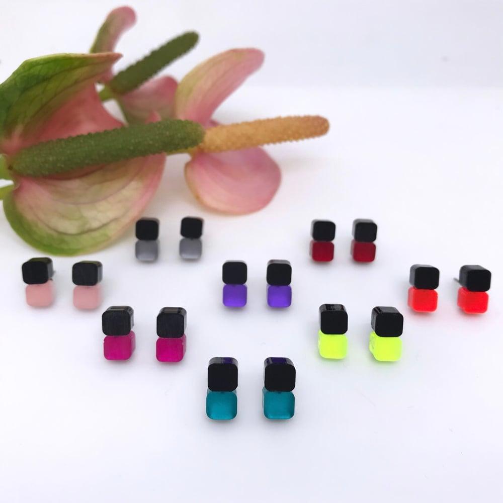 Image of Náušnice Minis Black&color