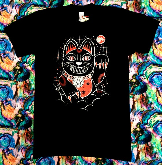 Image of NEKO PUSSY SILVER & RED ON BLACK T-SHIRT