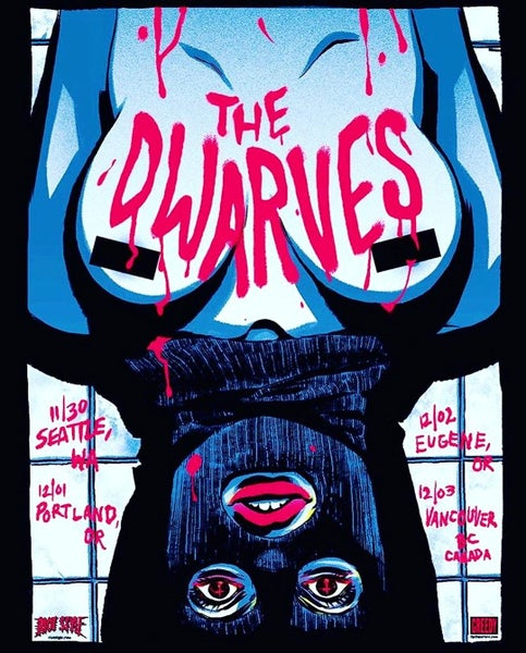 Image of The Dwarves / Becky Cloonan 2016 Pacific North West Tour Poster (Club Edition)