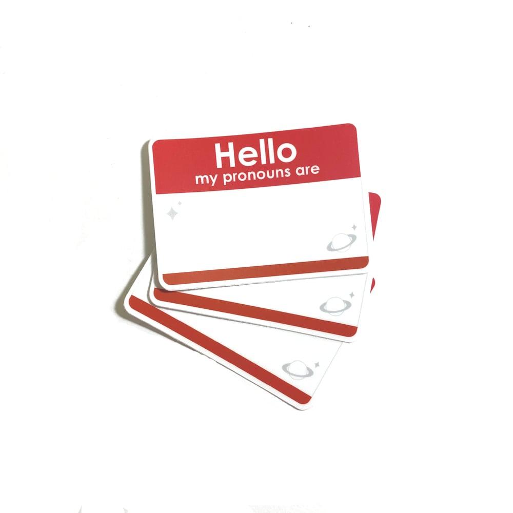 "Image of prounouns tag | 3"" vinyl sticker"