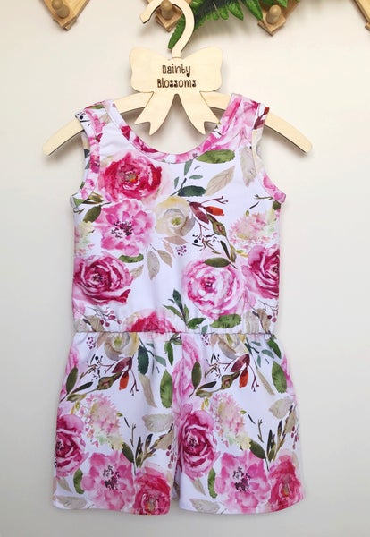 Image of Floral Jersey Romper (Size 2)