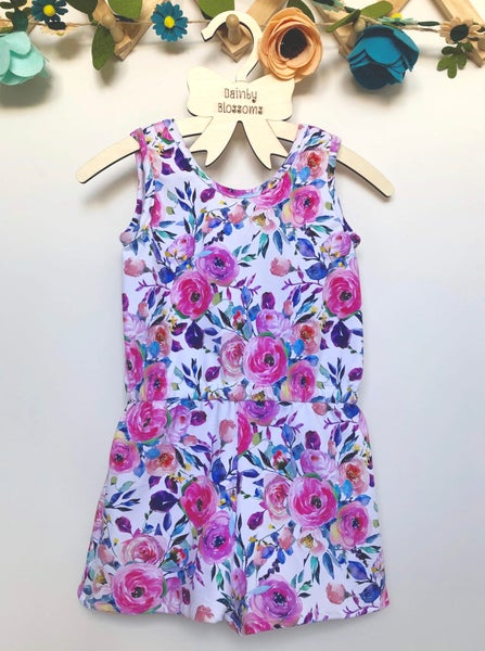 Image of Floral Jersey Romper (Size 1)