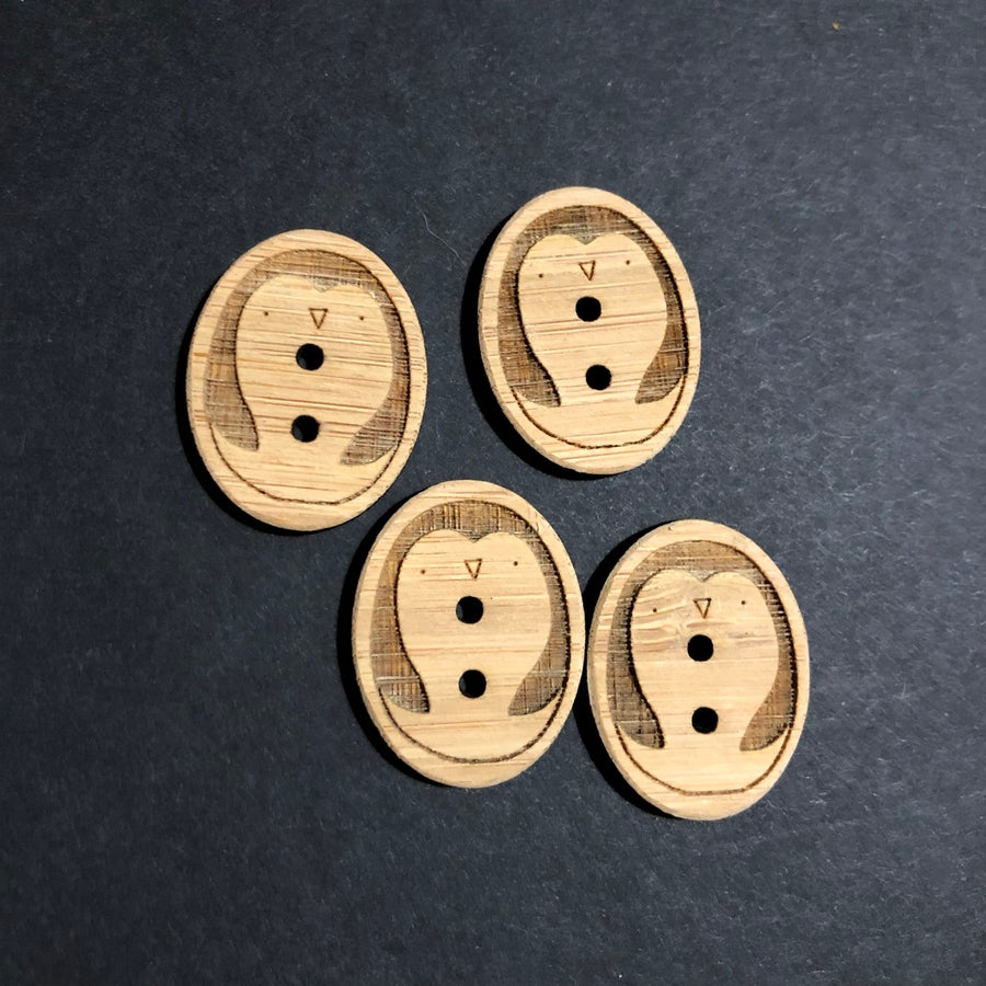 Image of bamboo penguin buttons
