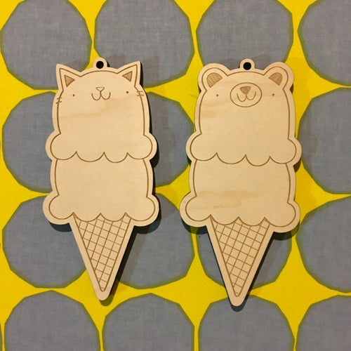Image of laser cut ice cream ornaments