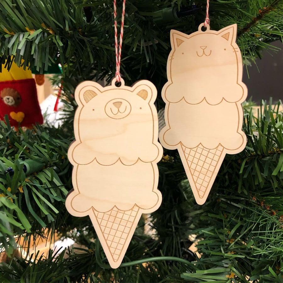 Image of laser cut ice cream ornaments