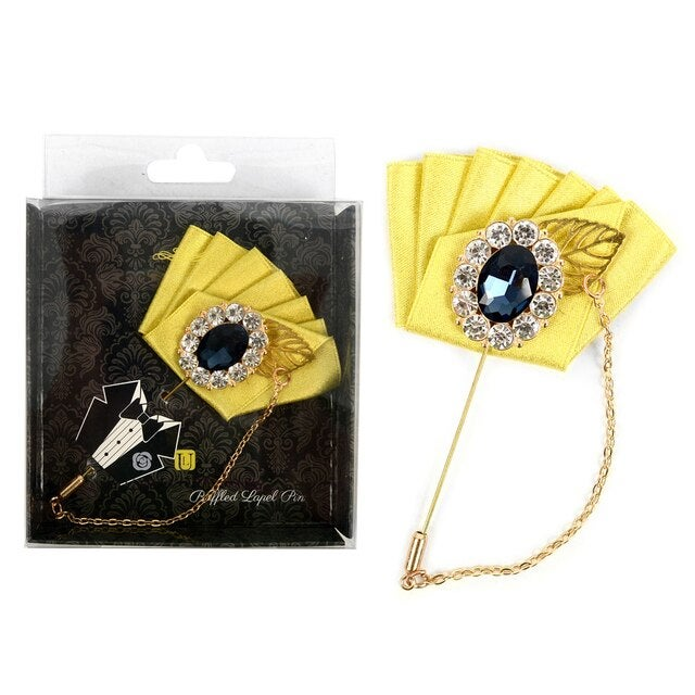 Image of Boxed Ruffled Lapel Pins with Stone Flower and Hanging Chain