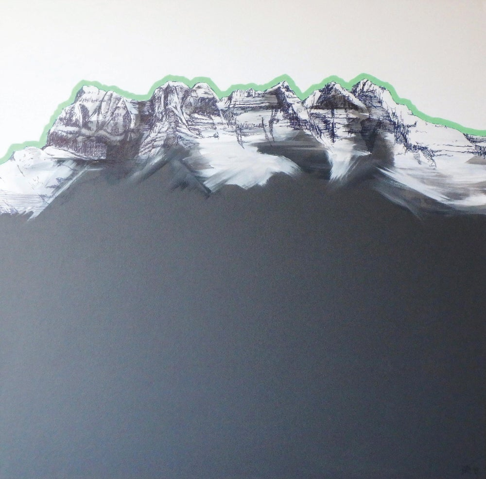 Image of ART painting Dents du midi 60x60 green