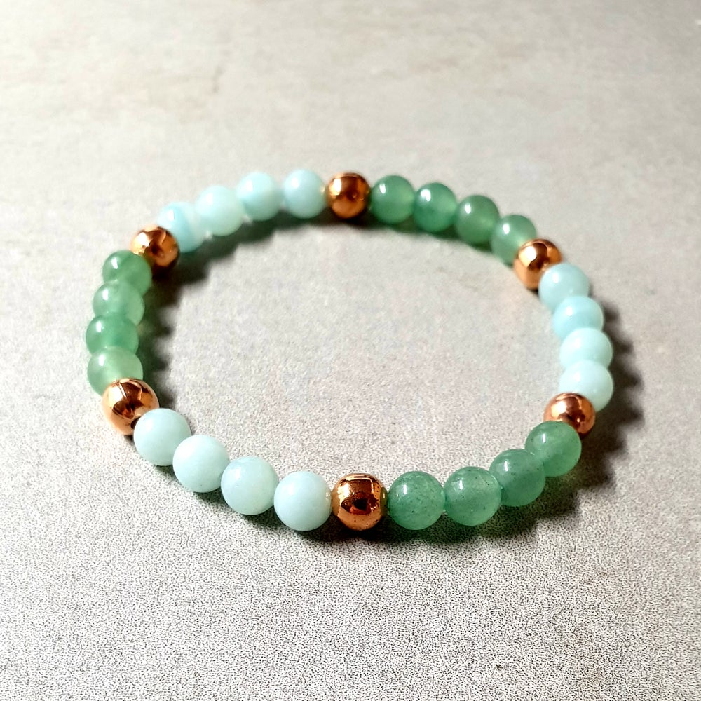 Image of LUCK & PROSPERITY BRACELET - Amazonite - Aventurine - Copper
