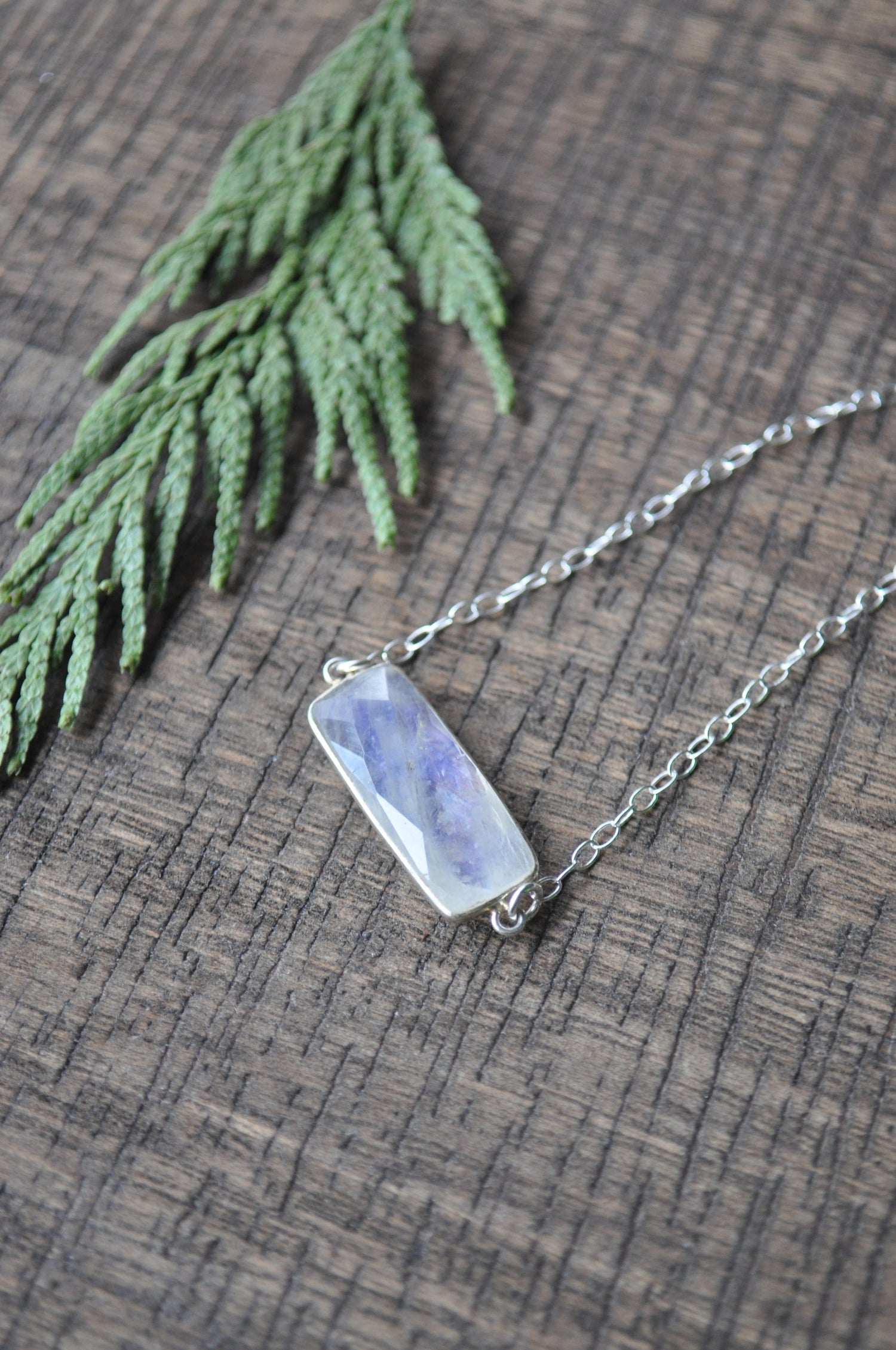 Image of Rainbow Moonstone Bar on Sterling Silver