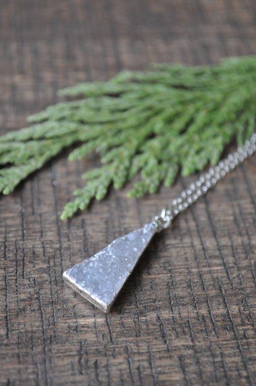 Image of Druzy Triangle Necklace in Sterling Silver