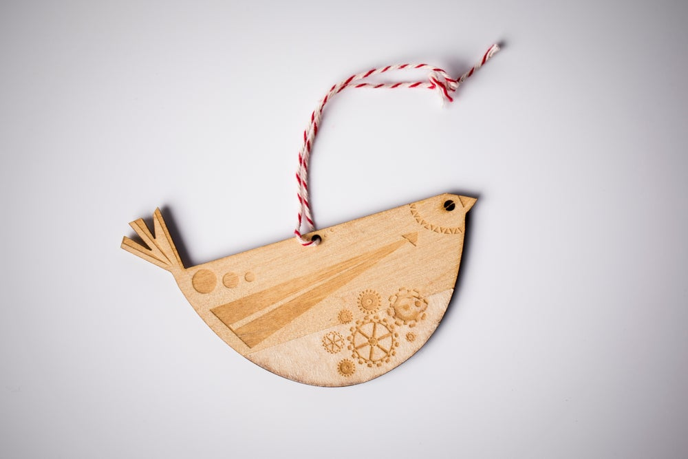 Image of Wooden Folk Bird Laser Cut and Etched Ornament - New!