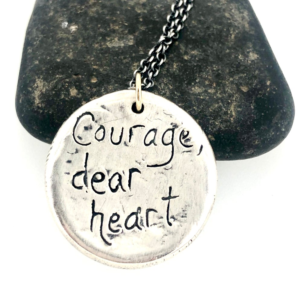 Image of Courage dear heart sapphire necklace with sapphires