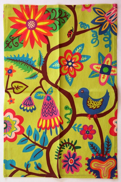 Image of Tea Towel Bird, Bugs + Flowers Light Green - FREE SHIPPING