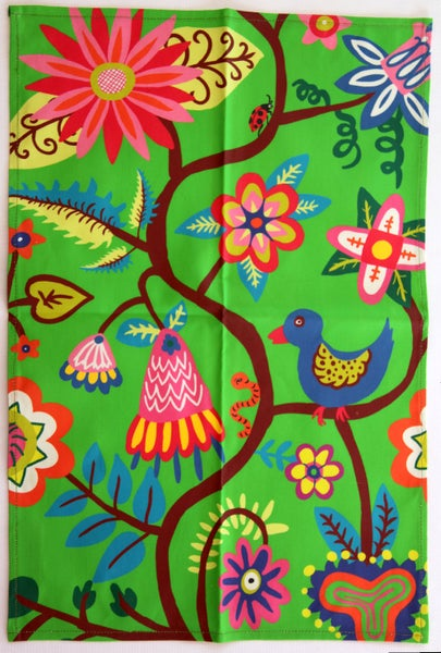 Image of Tea Towel - Bright Green Bird + Flower Overall FREE SHIPPING