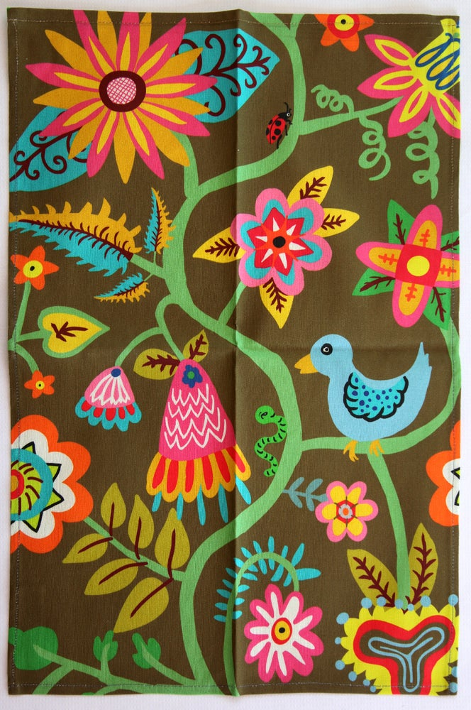 Image of Tea Towel - Bird, Bugs, + Flowers Brown - FREE SHIPPING