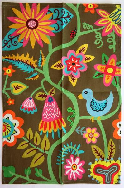 Image of Tea Towel - Bird, Bugs, + Flowers Brown - FREE SHIPPING