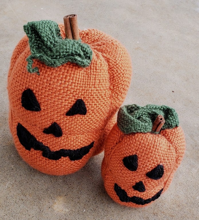 Image of Jack o lantern set, Halloween soft sculpture, handwoven