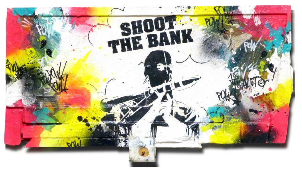 Image of Shoot The Bank on wood. 2014.