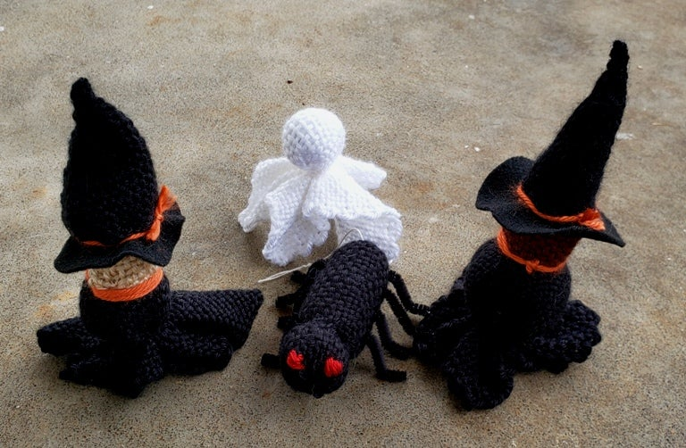 Image of Large Halloween Trio, Soft Sculpture, Handwoven