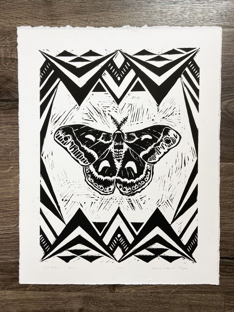 Image of Silk Moth Linocut Print