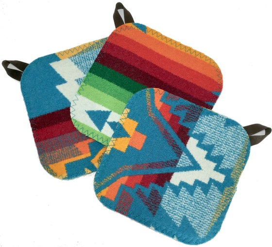 Image of Western Wool Potholder - Turquoise Plus