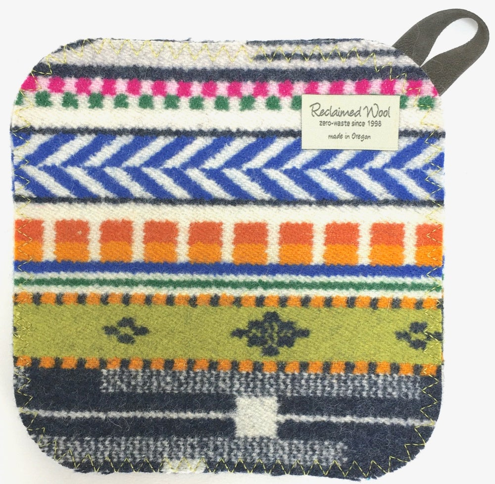 Image of Western Wool Potholder - Carnival Colors