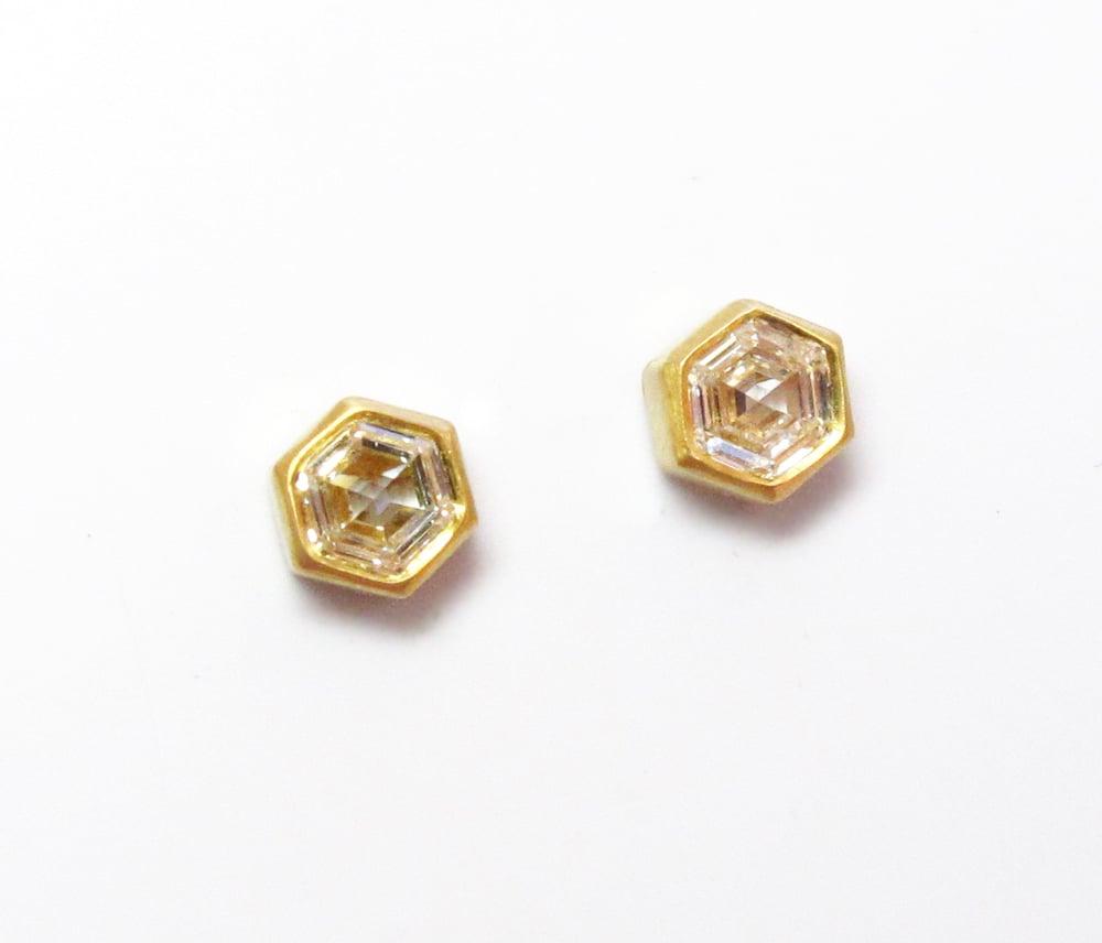 Image of Hexagonal Diamond Earrings 22K