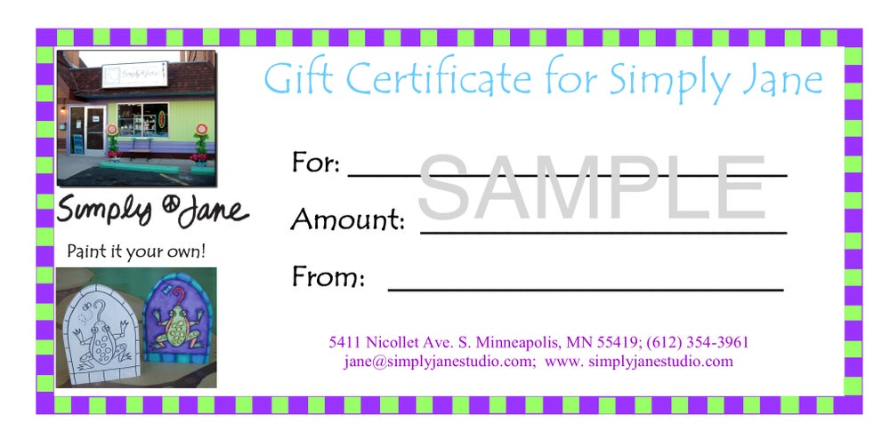 Image of Simply Jane/ArtAble Gift Certificate
