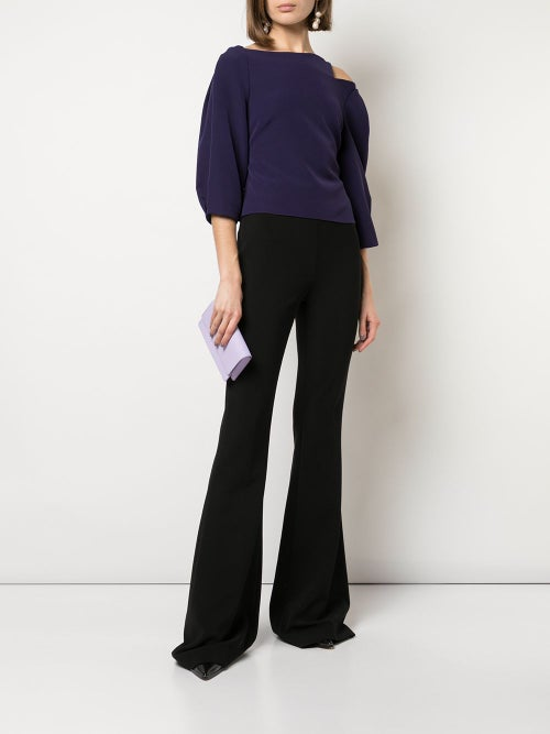 Image of Cropped Notched Shoulder Top