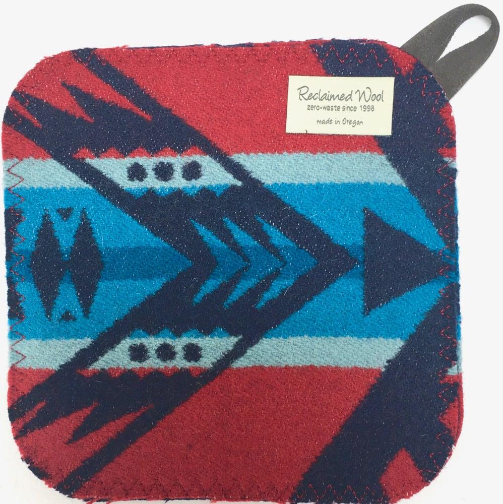 Image of Western Wool Potholder - Red/Orange/Turquoise