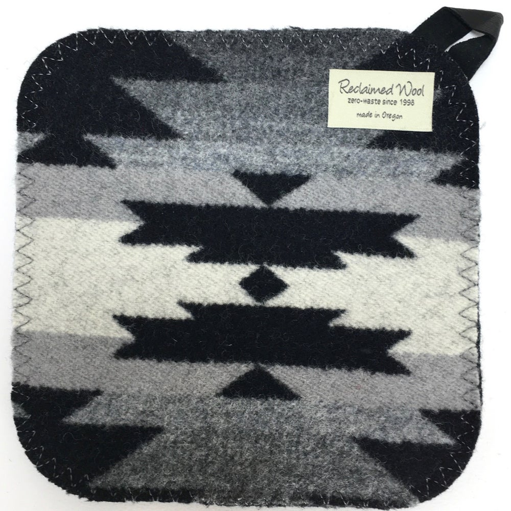 Image of Western Wool Potholder - B&W **SALE**