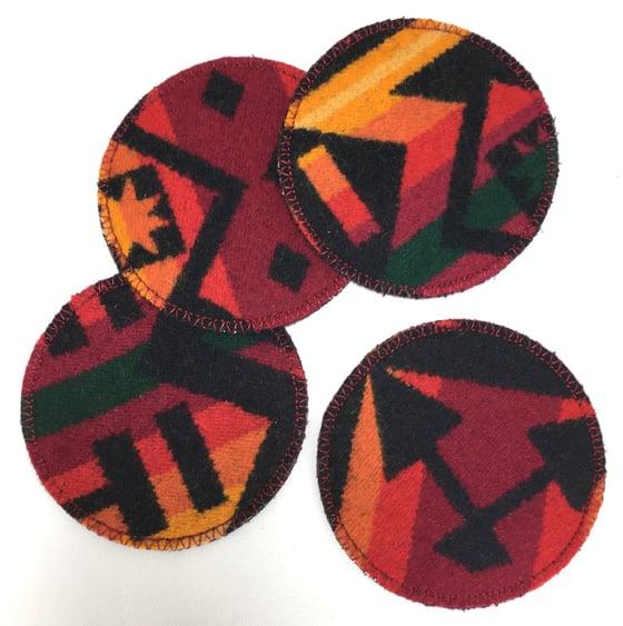 Image of Wool & Leather Coasters - Red/Orange