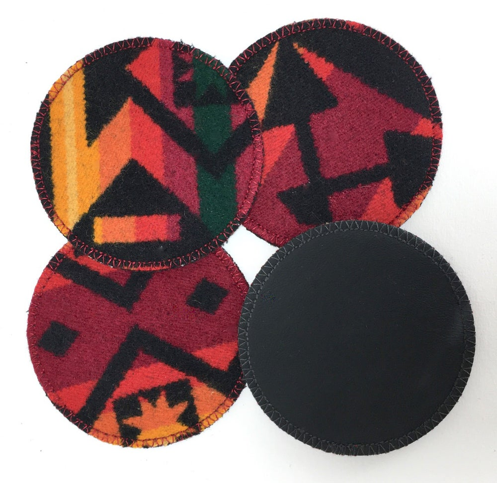Image of Wool & Leather Coasters - Red/Orange
