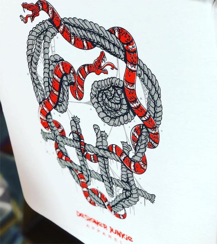 Image of Designer Snake Tee ( White ) Long Sleeve
