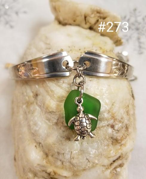 Image of Sea Glass- Vintage Flatware-Bracelet- Turtle- #273