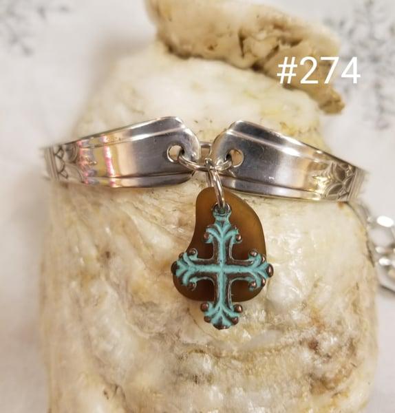 Image of Sea Glass- Vintage Flatware- Bracelet- Greek Cross- #274
