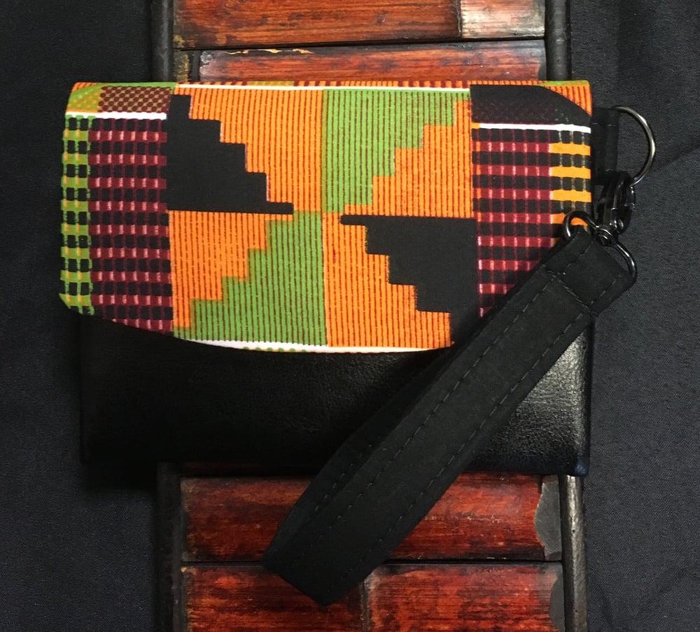 Image of Designs By IvoryB Boon Wallet-Orange Kente Ankara African Print