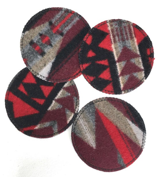 Image of Wool & Leather Coasters -- Red/Grey