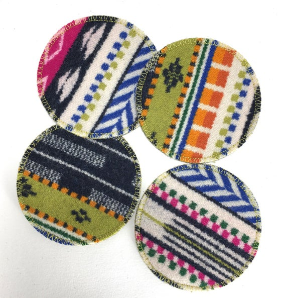 Image of Wool & Leather Coasters - Carnival Colors
