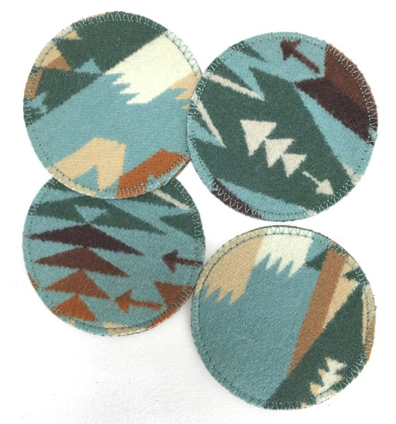 Image of Wool & Leather Coasters - Greens & Tans