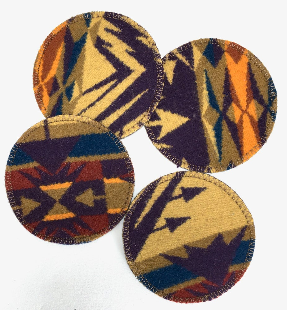 Image of Wool & Leather Coasters - Purple/Gold/Red