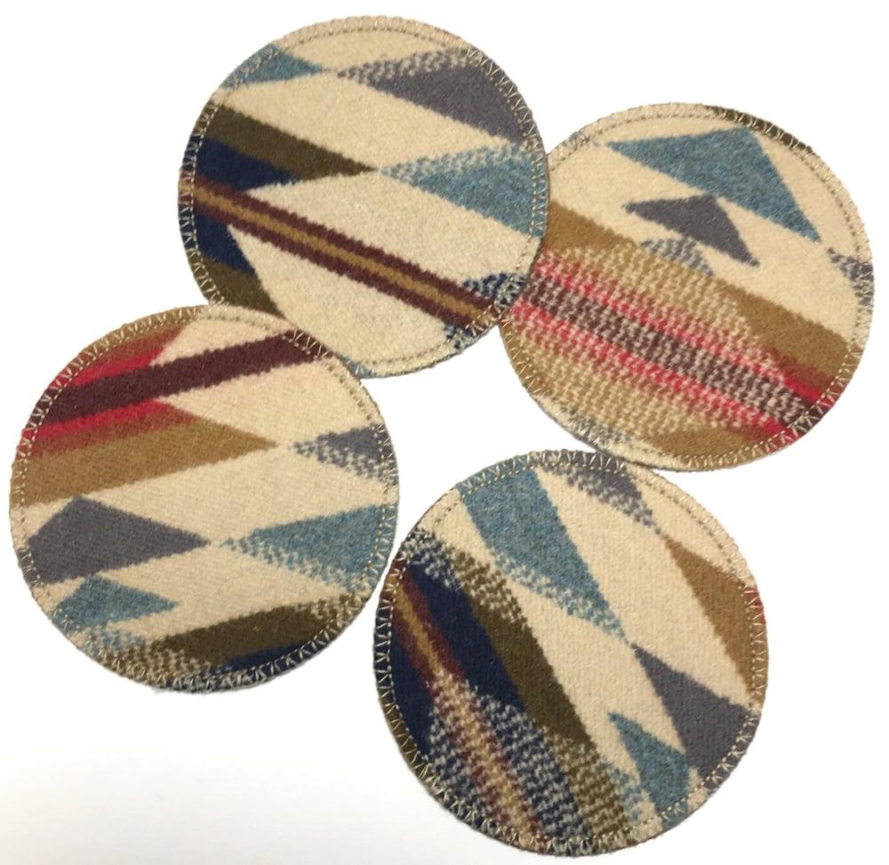 Image of Wool & Leather Coasters - Tan/Grey/RGB