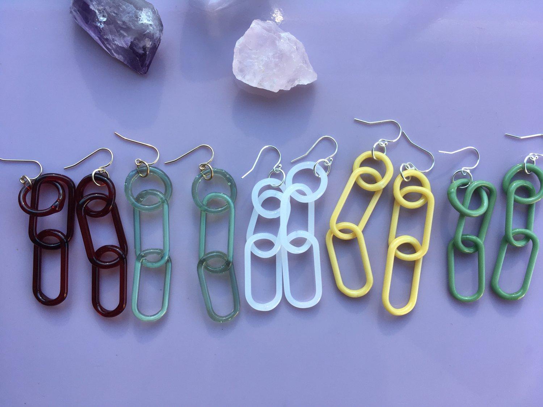 Image of Sage triple link earrings (o00)