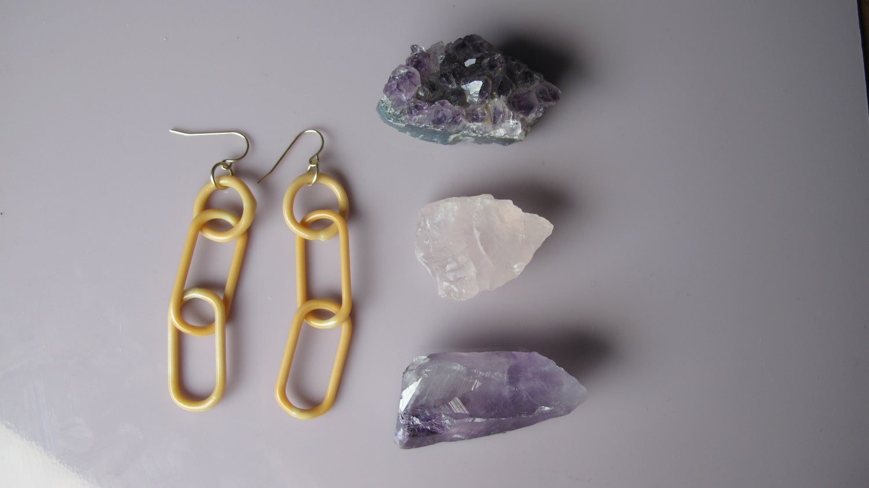 Image of orange creamsicle tripple link earrings (o00)