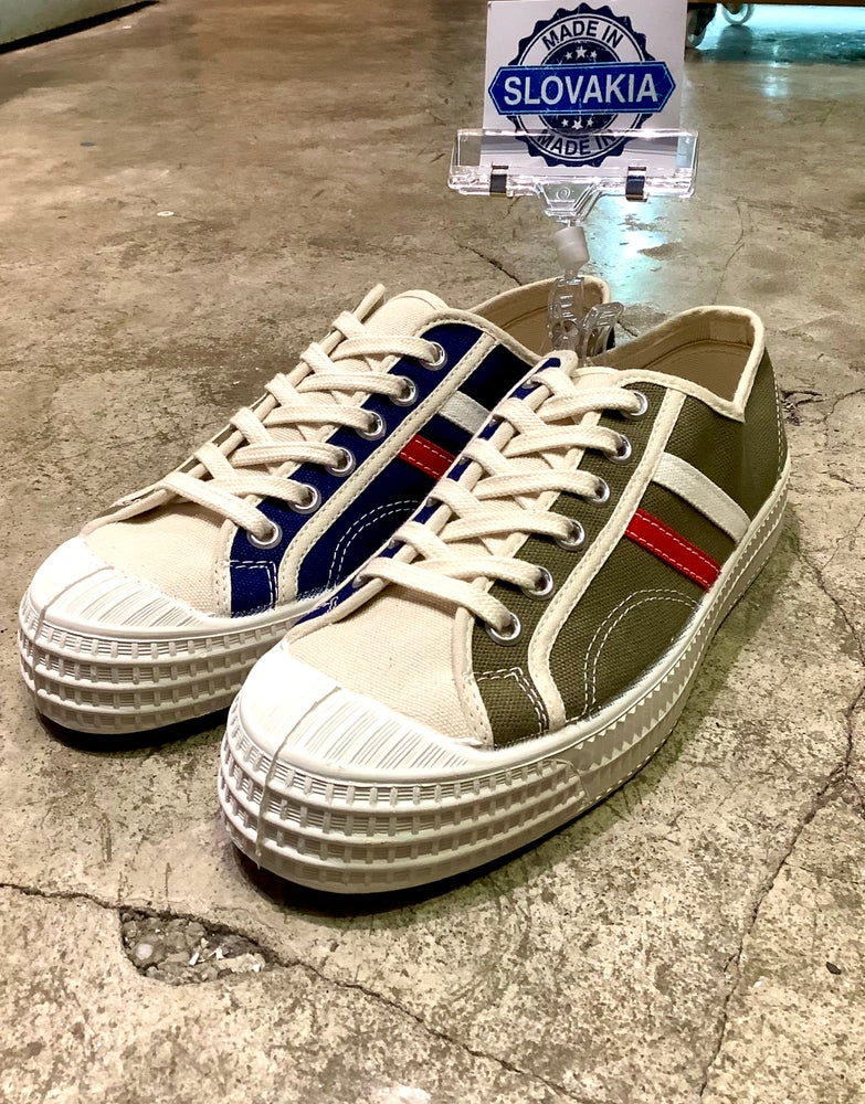 Image of VEGANCRAFT tricolour combination vintage sneaker shoes made in Slovakia