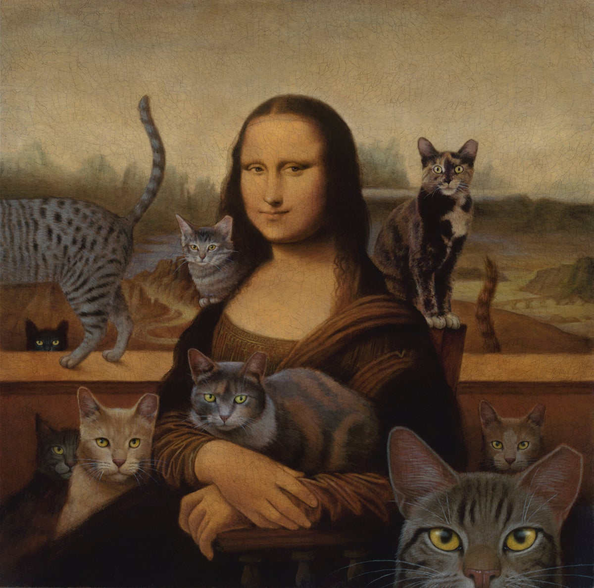 Image of Mona With Cats archival print