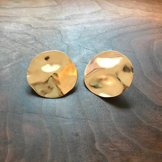 Image of Golden reflective pool earrings