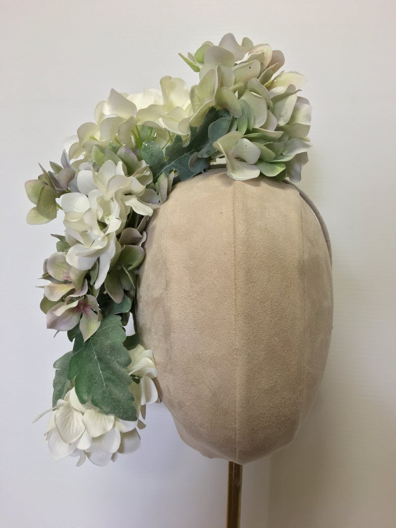 Image of Soft green & white flower headpiece