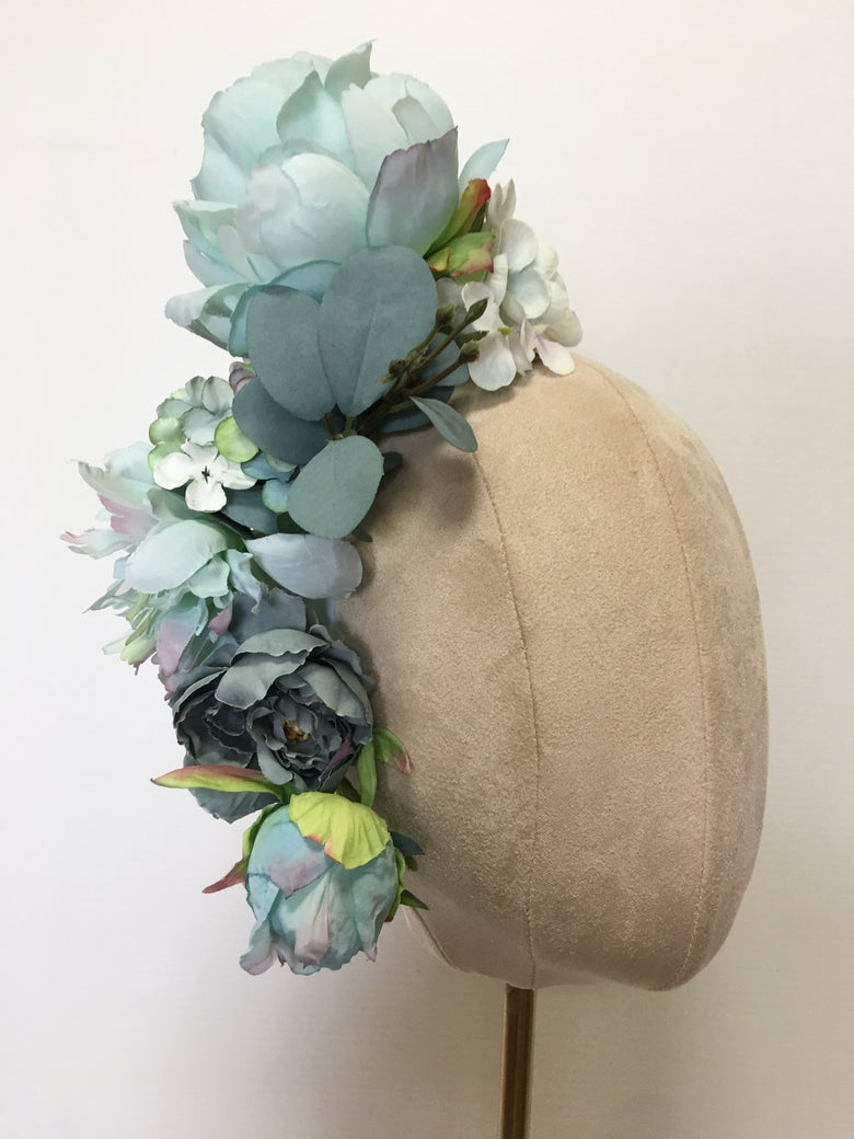 Image of Aqua flower headpiece