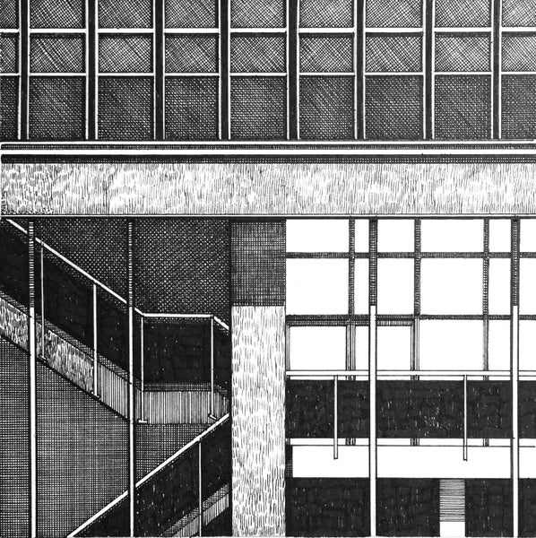 Image of Sheffield Arts Tower. Original Pen & Ink study #2